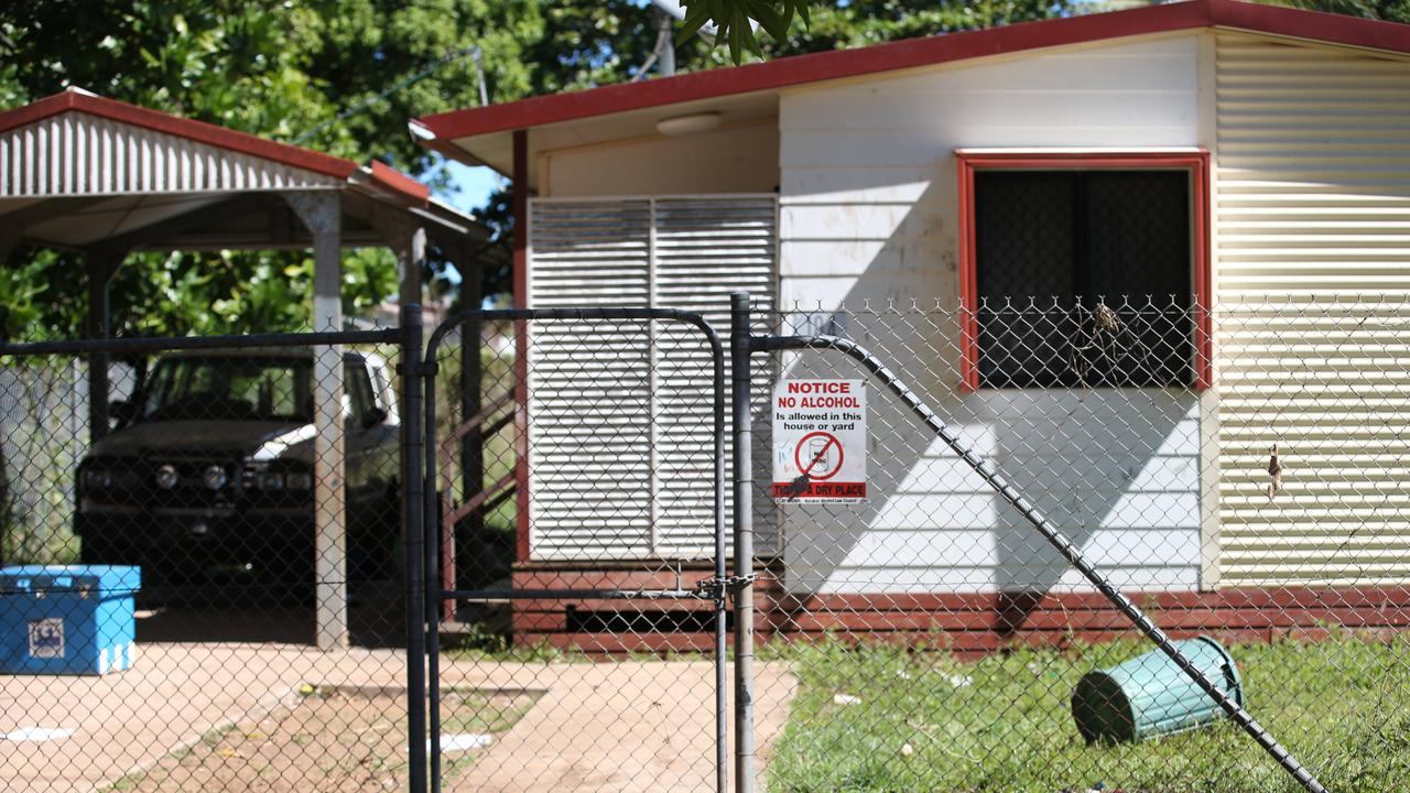 A public housing community house with a sign banning alcohol in Aurukun. PICTURE: BRENDAN RADKE