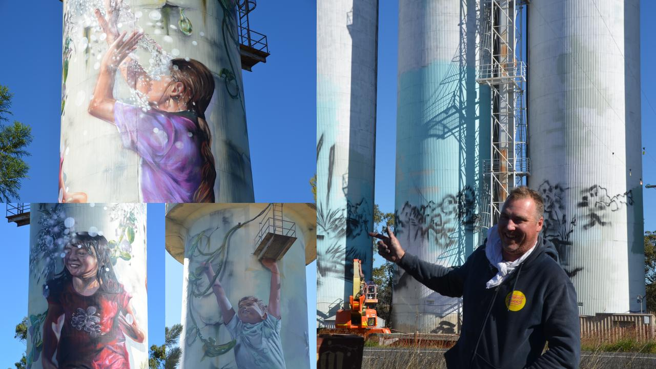 MONTO MURAL UPDATE: Brisbane artists Travis Vinson (Drapl, pictured) and Joel Fergie (The Zookeeper) are nearing completion of the murals in the Monto township. Picture: Sam Turner