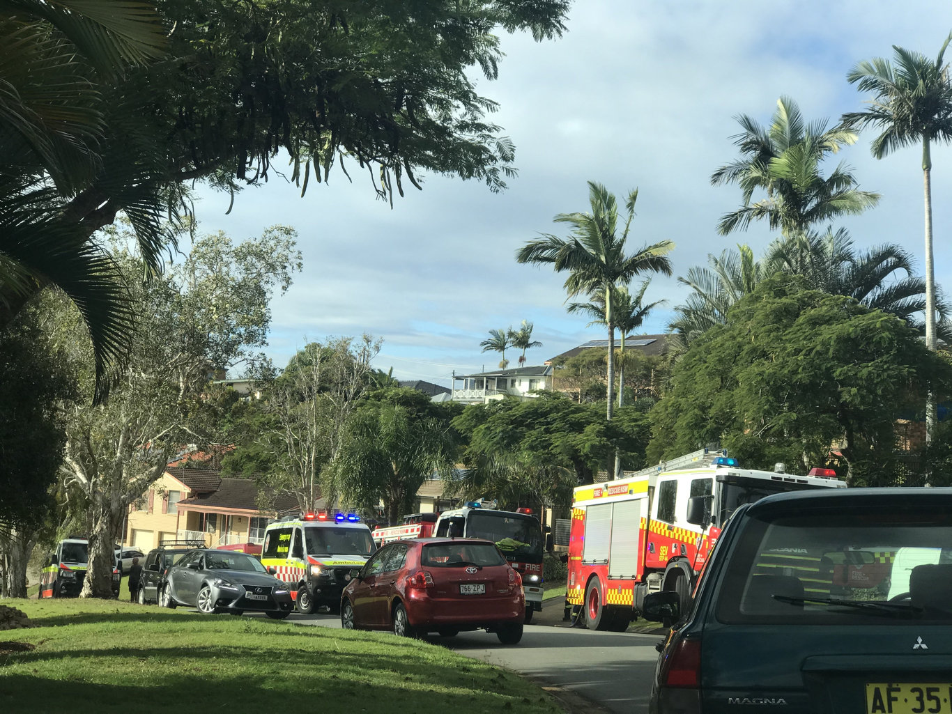 Fire crews attended the same Banora Point home twice today, after two separate fires broke out.