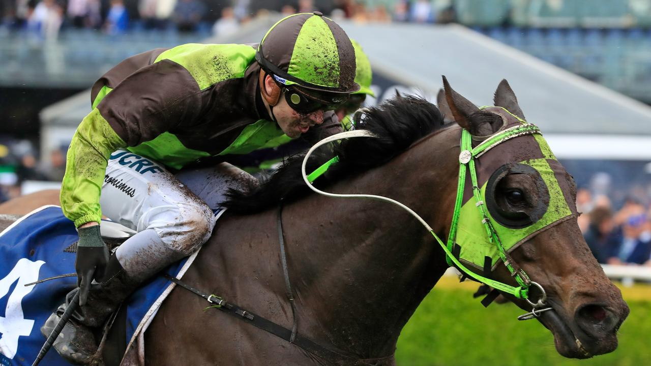 Adam Hyeronimus on Belflyer wins The Kosciuszko at Royal Randwick on October 13, 2018. Belflyer was a subject in a three-leg multi in August 2017 which raised Racing NSW stewards' suspicions of betting offences allegedly involving the jockey. (Photo by Mark Evans/Getty Images)