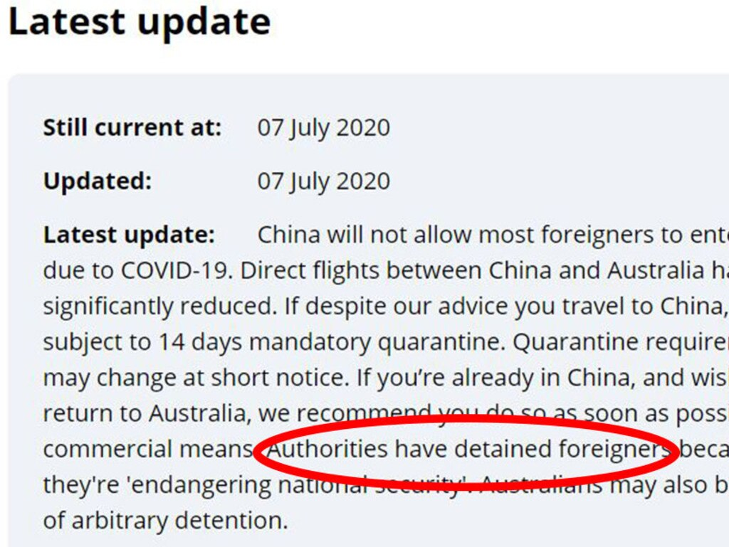 DFAT has changed its travel warning for China to include the risk of 'arbitrary detention'. Picture: Supplied