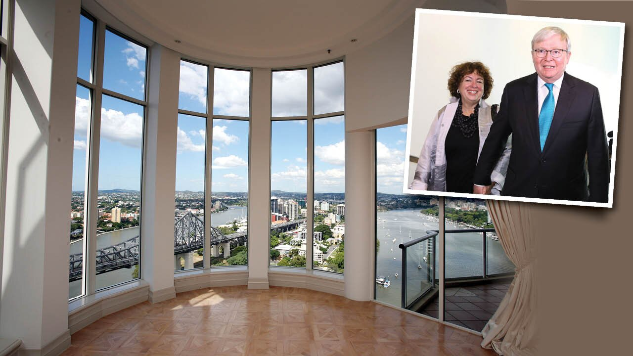 Therese Rein and former prime minister Kevin Rudd are understood to be trying to offload their plush five-bedroom seven-bathroom penthouse.