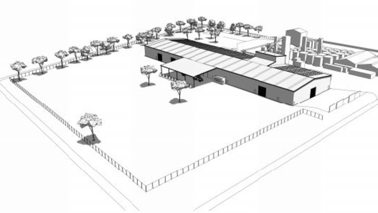 A 3D rendering of the new warehouse proposed at the Riverina facility in Oakey.
