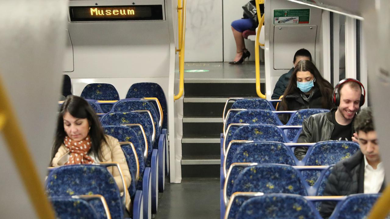 Scientists say coronavirus measures should take into account that it can be spread by airborne particles and this includes proper distancing on public transport. Picture: John Grainger