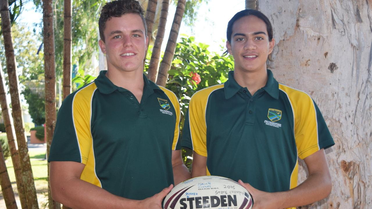 SKILLED: A 17-year-old Kai O'Donnell (left) with fellow Proserpine SHS student Taine Browne, 16 after the pair were named in the NQ Cowboys Academy. Photo Inge Hansen / Whitsunday Times.