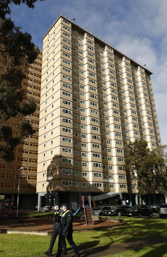 Melbourne's government housing towers are also in lockdown and residents have told of cramped living conditions and shared lifts that can spread the virus. Picture: Darrian Traynor/Getty Images