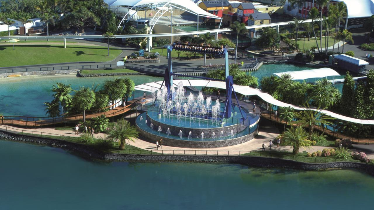 An artist's impression of the Vortex, an 18m high pendulum thrill ride being built in the new $50 million Atlantis precinct.