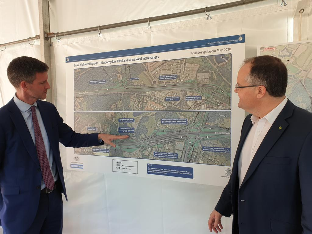 Transport and Main Roads Minister Mark Bailey and Federal Member for Fairfax Ted O'Brien look over the Maroochydore and Mons roads interchange projects. Photo: Matty Holdsworth