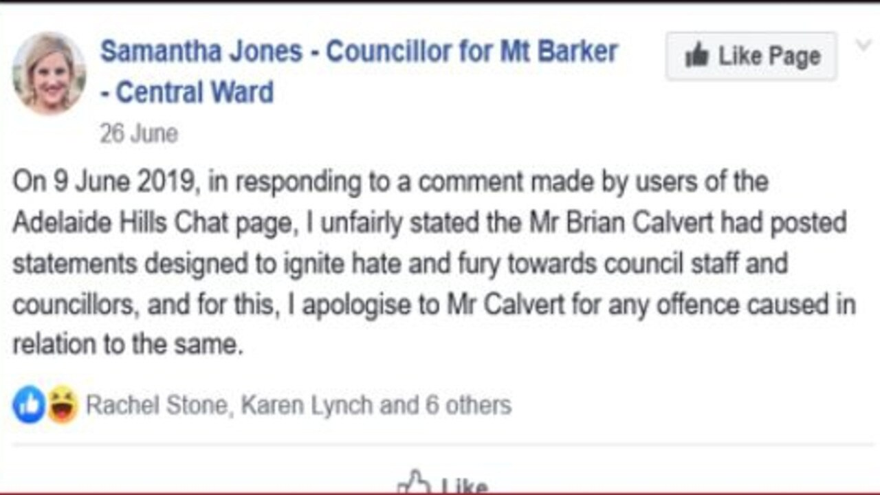 "The Facebook post by Mt Barker councillor Samantha Jones after she accused resident Brian Calvert to trying to ""ignite fury"" against the council. Picture: Supplied"