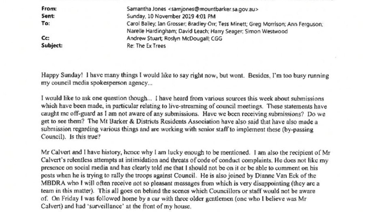 The email sent by Mt Barker councillor Samantha Jones about resident Brian Calvert to other councillors and staff. Picture: Supplied