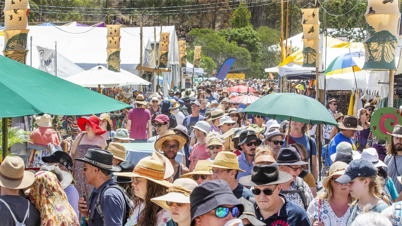 Crowds begin to pack in on Sunday at Woodford Folk Festival. Photo Lachie Millard