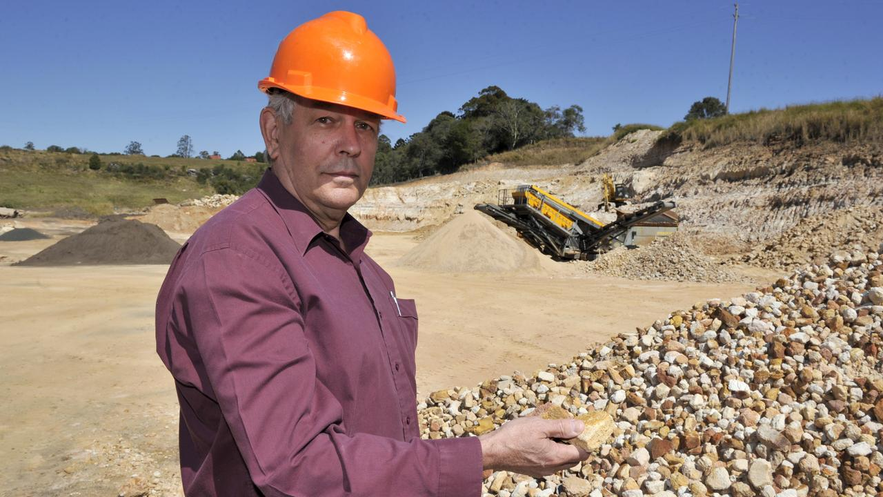 Jeff Champion pictured at Champions Quarry, Wyrallah Road, Tucki, in 2012. Photo Cathy Adams / The Northern Star