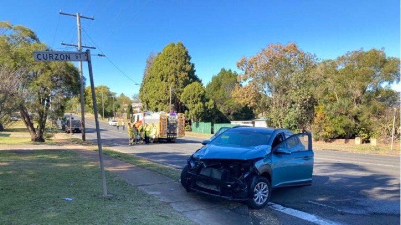 TWO-CAR CRASH: Emergency services are currently at the scene of the crash. Photo: Mike Nolan.