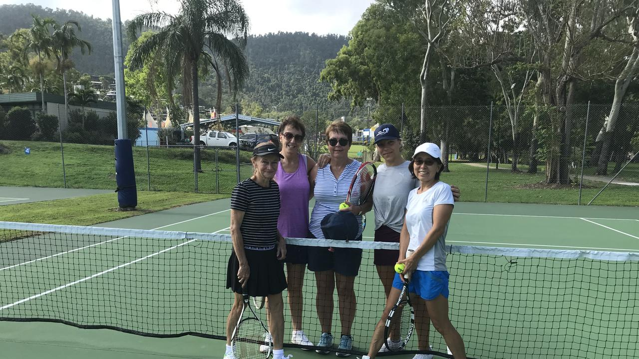 (From left) Pam Pearce, Denise Forbes, Robyn Murray, Julia Kasiske and Yoko Stimson from Tennis Whitsunday.