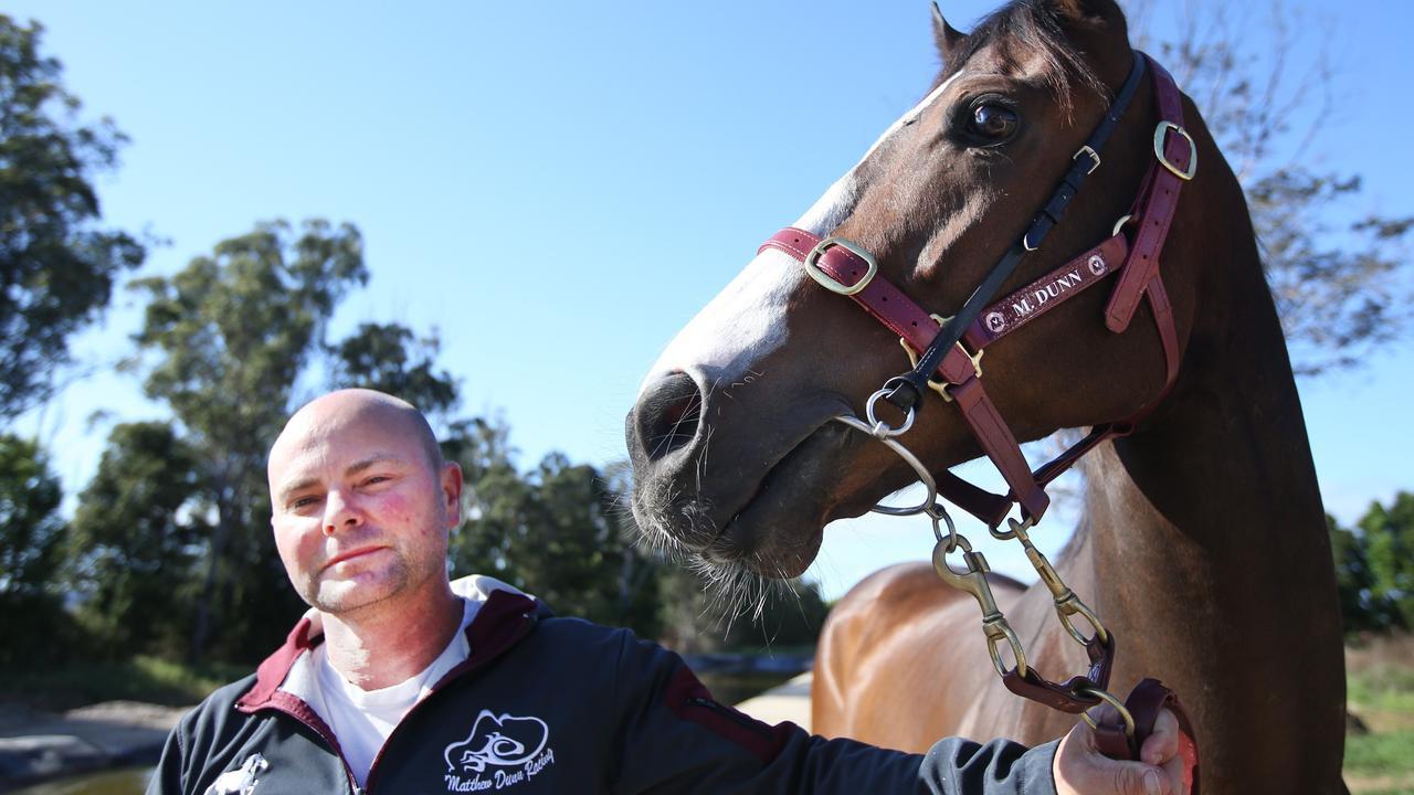 Matt Dunn's racehorse Snitz gets some early morning track work in at Tweed Jockey Club Murwillumbah.