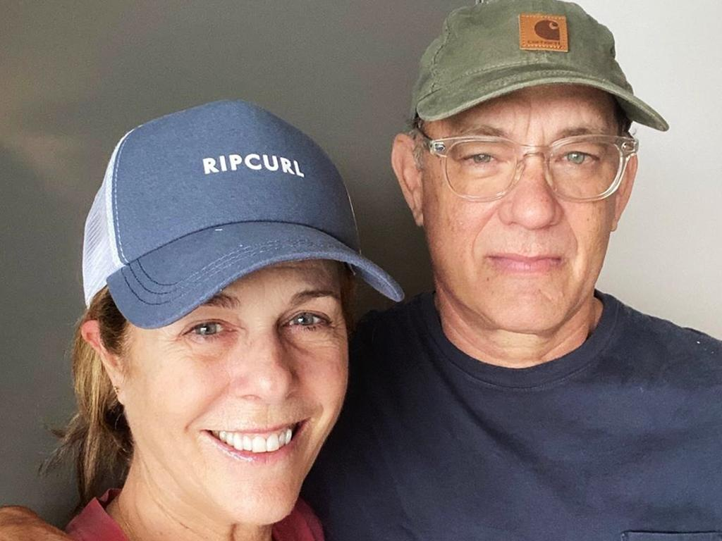 Tom Hanks and Rita Wilson, pictured while they were hospitalised for coronavirus in Queensland. Picture: Instagram