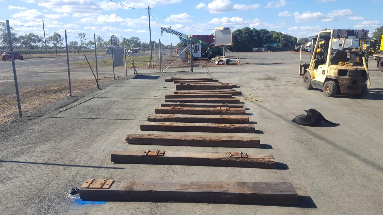 Preparations for the train to arrive at Dalby Machinery Centre on Thursday. Picture: Lachlan Berlin