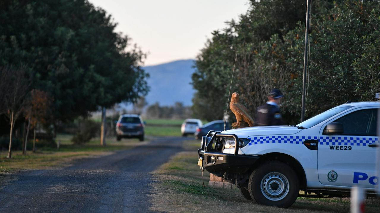 Police at crime scene in Gunnedah where a teenager has been charged after a young girl was found dead.