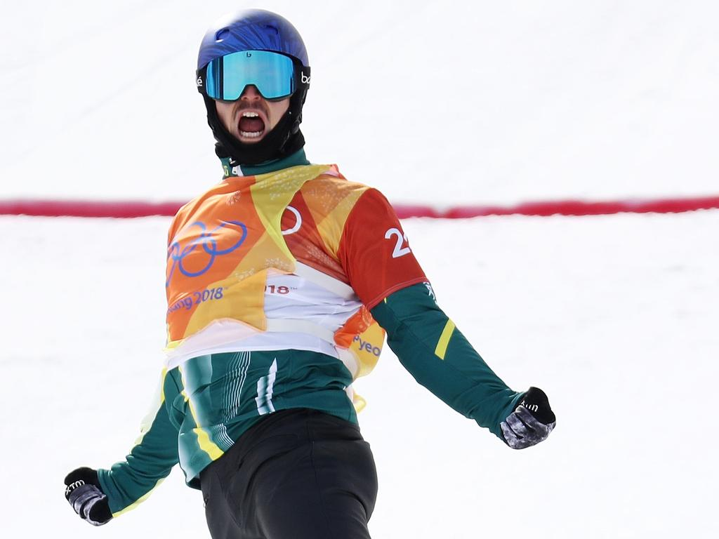 Alex Pullin celebrates a blistering run for Australia in PyeongChang. Picture: Clive Rose/Getty