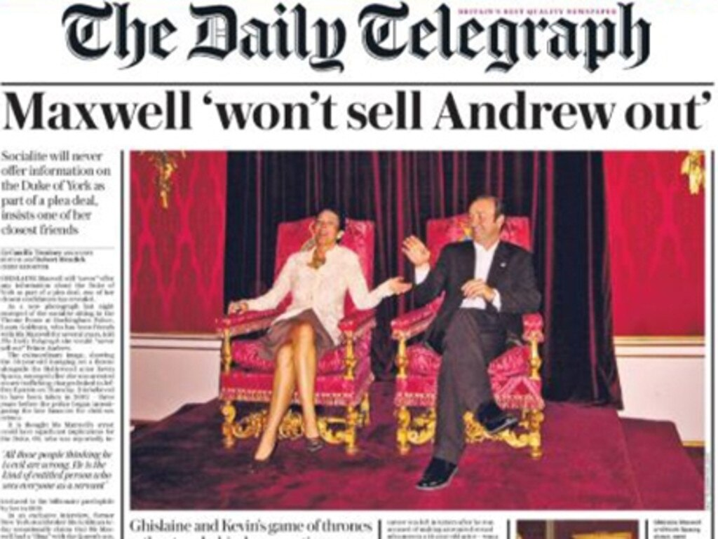 A picture of Ghislaine Maxwell and Kevin Spacey sitting on the coronation throne at Buckingham Palace in a blow to the royal family. Picture: The Daily Telegraph