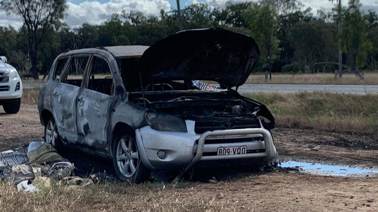 A silver Toyota Rav4 was found engulfed in flames near Bouldercombe last night.
