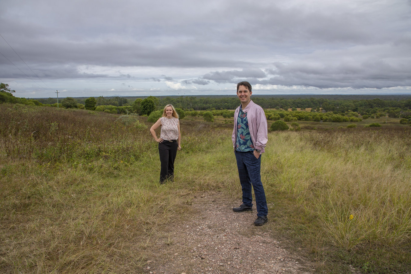 The council has bought a 60ha property on the ridgeline at Takura to add to the region's conservation network.Pictured is Councillor Jade Wellings and Mayor George Seymour.