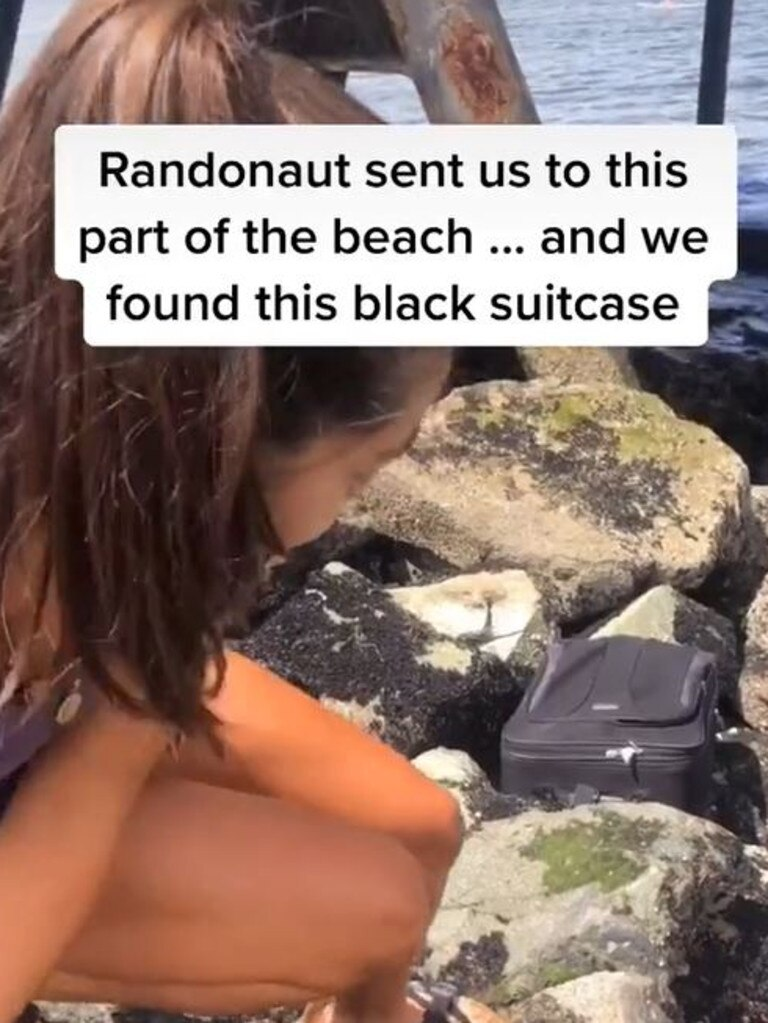 The teens found the suitcase while using exploration app Randonautica. Picture: TikTok
