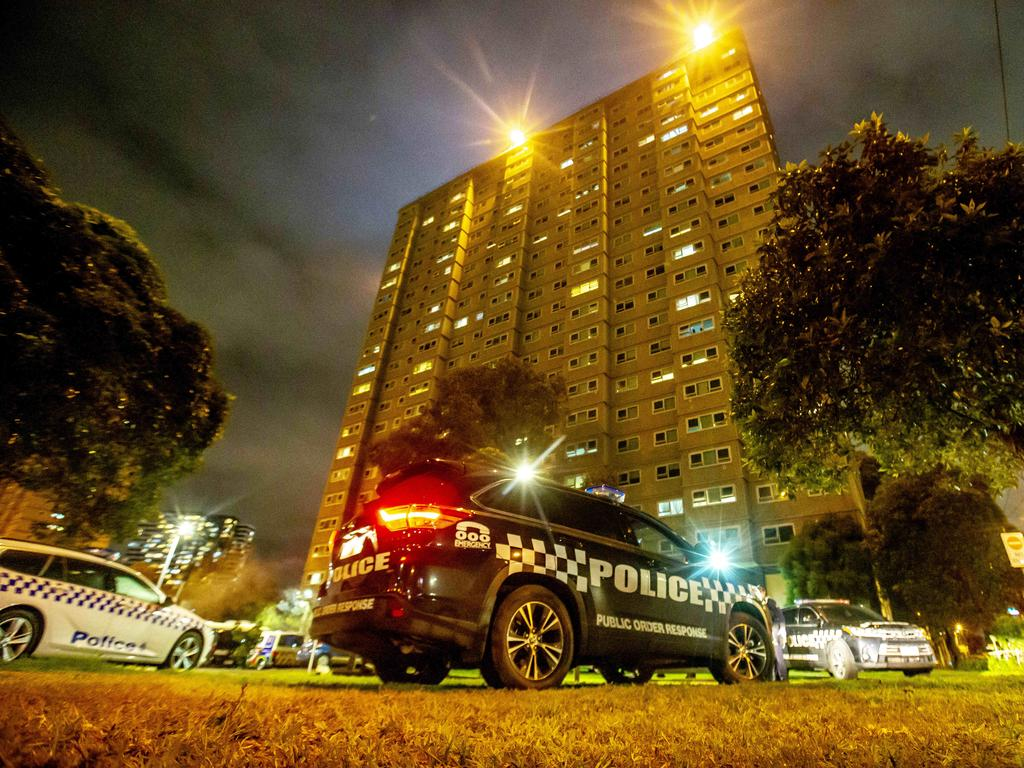 There has been a significant police presence at the towers since the weekend. Picture: Tim Carrafa