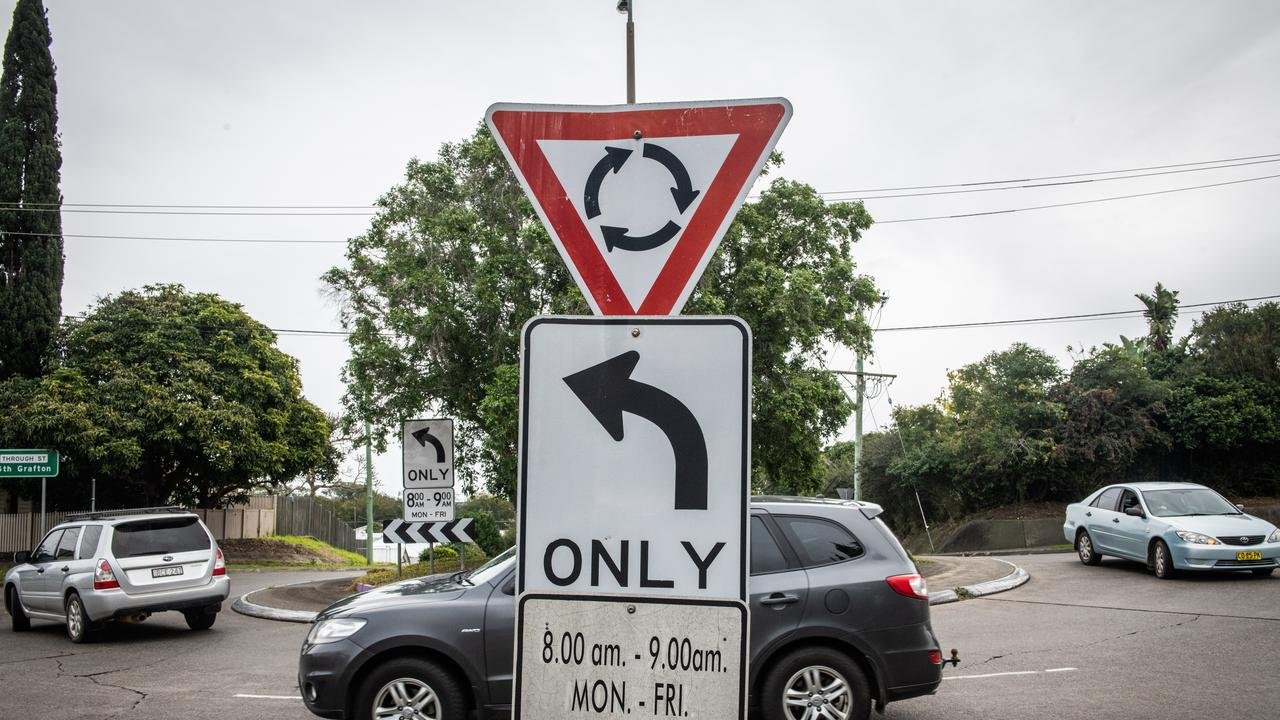Left Turn Only sign at Through and Bent Street South Grafton that helped control traffic jams on old bridge to be removed