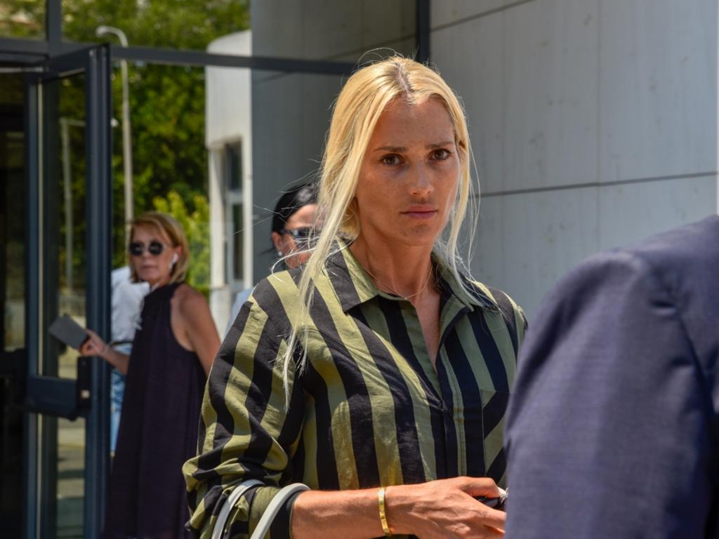Viktoria Karida, widow of slain Sydney gangster John Macris, outside court in Greece. Picture: Spyros Bakalis