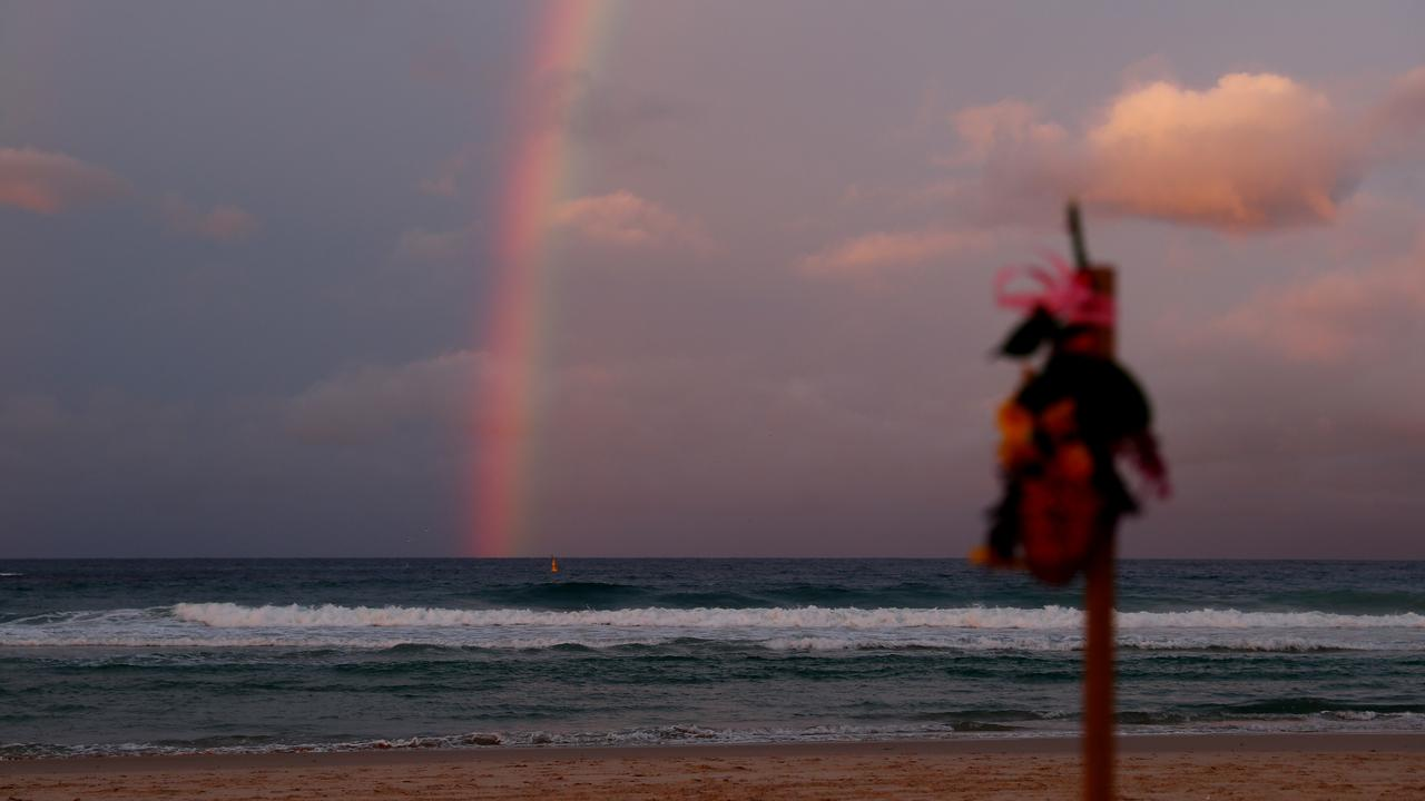 A memorial on the beach for the champion snowboarder. (Photo by Chris Hyde/Getty Images)