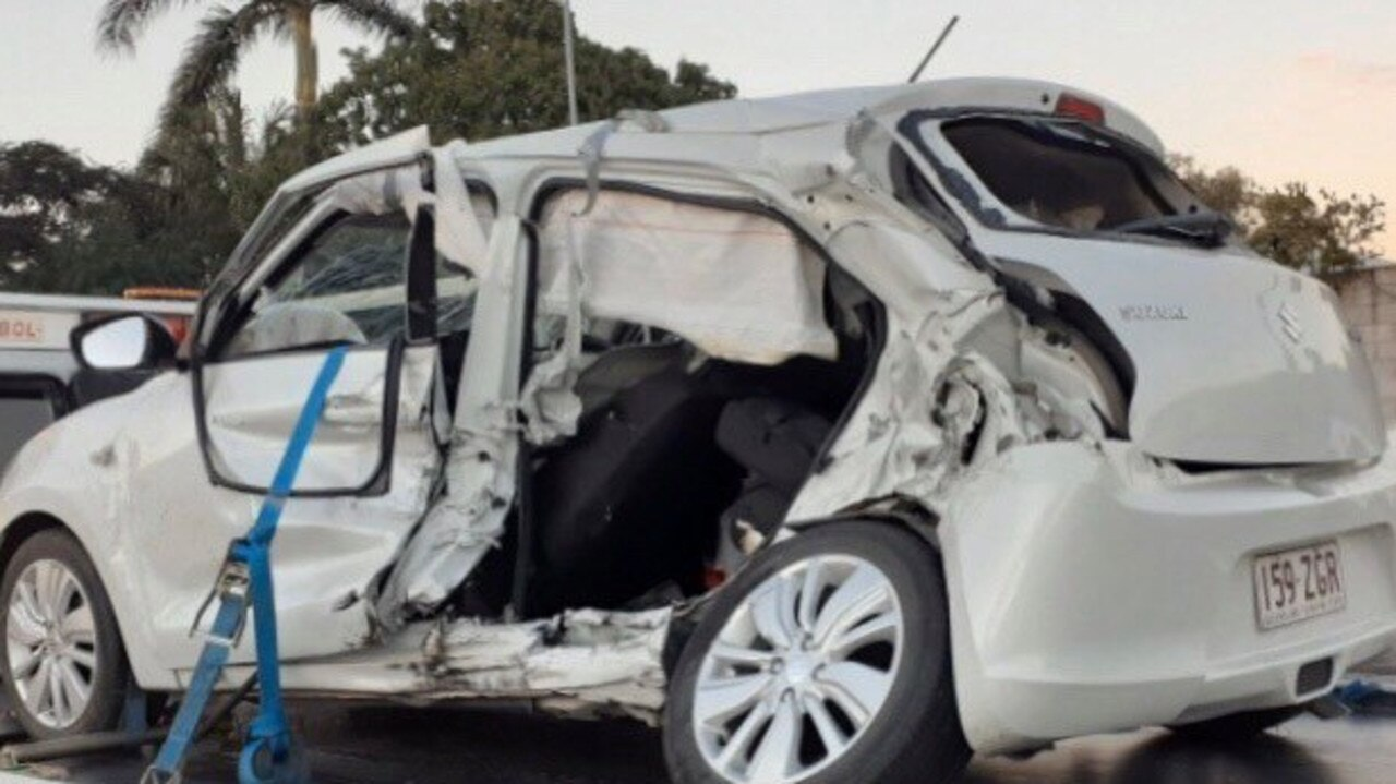 The wreckage of a Suzuki Swift involved in Wednesday afternoon's horrifying accident.