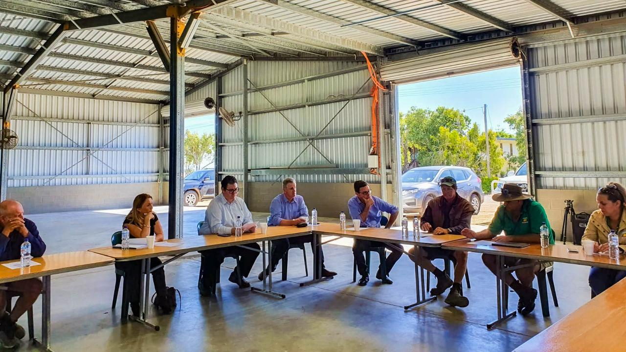 Federal Member for Dawson George Christensen (third from left) and Agriculture Minister David Littleproud (fourth from right) join a Bowen Gumlu Growers Association meeting on July 7, 2020.