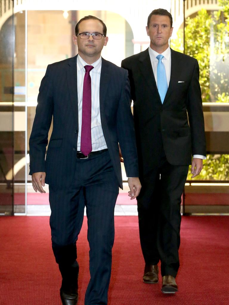 L to R, David Janetzki MP, Member for Toowoomba South, and Dan Purdie MP, Member for Ninderry, at Parliament House, Brisbane, Monday 15th June 2020 – Photo Steve Pohlner