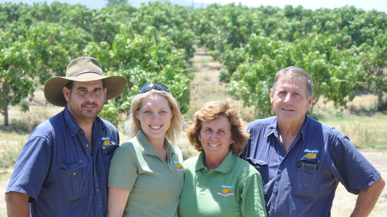 Bowen based mango orchard Marto's Mangoes, owned by the Martin family (from left) Ben Martin, Ash-lei Martin, Bernadette Martin and Gary Martin. Picture: Nadine O'Neill