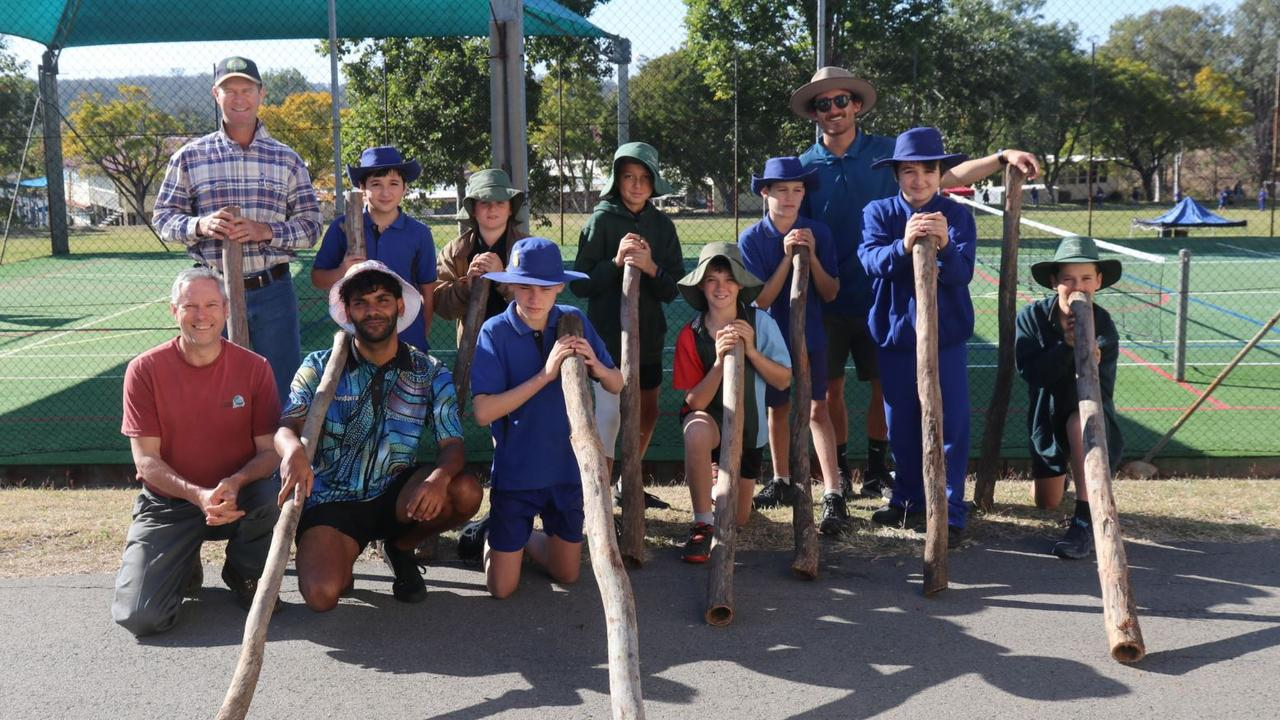 DIDGERIDOO WORKSHOPS: Alex Murchison with students and teachers from Eidsvold State School participating in his workshop. Picture: Contributed