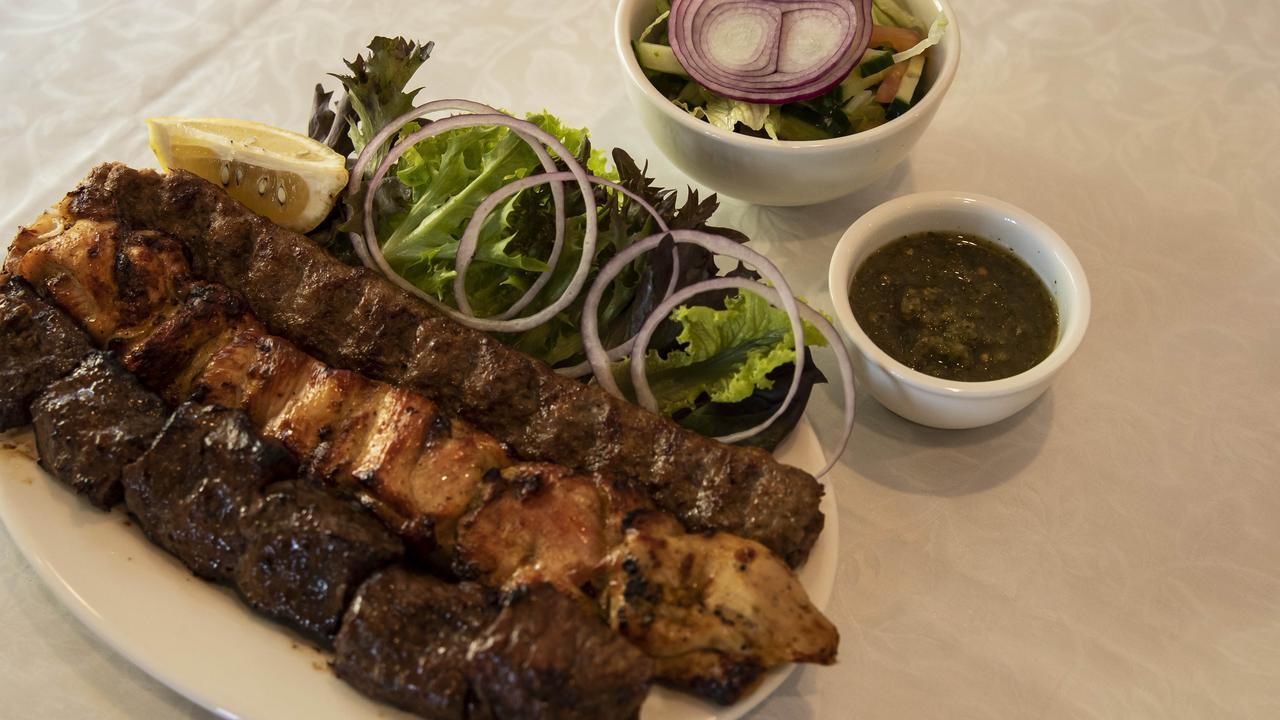 Mixed kebabs at Bamiyan. Picture: Mark Cranitch.