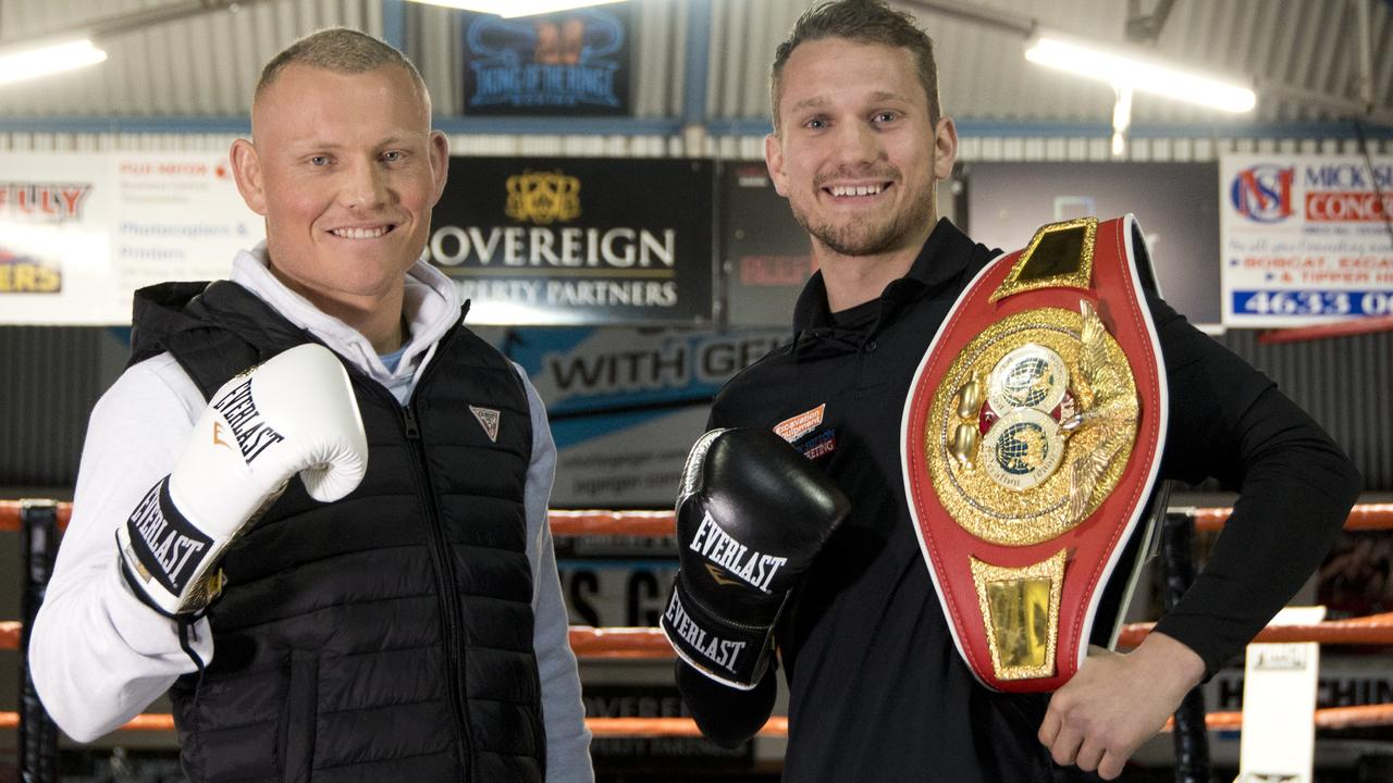 Michael Whitehead (left) will challenge Toowoomba's Steven Spark for the IBF Australasian Super Lightweight title fight.