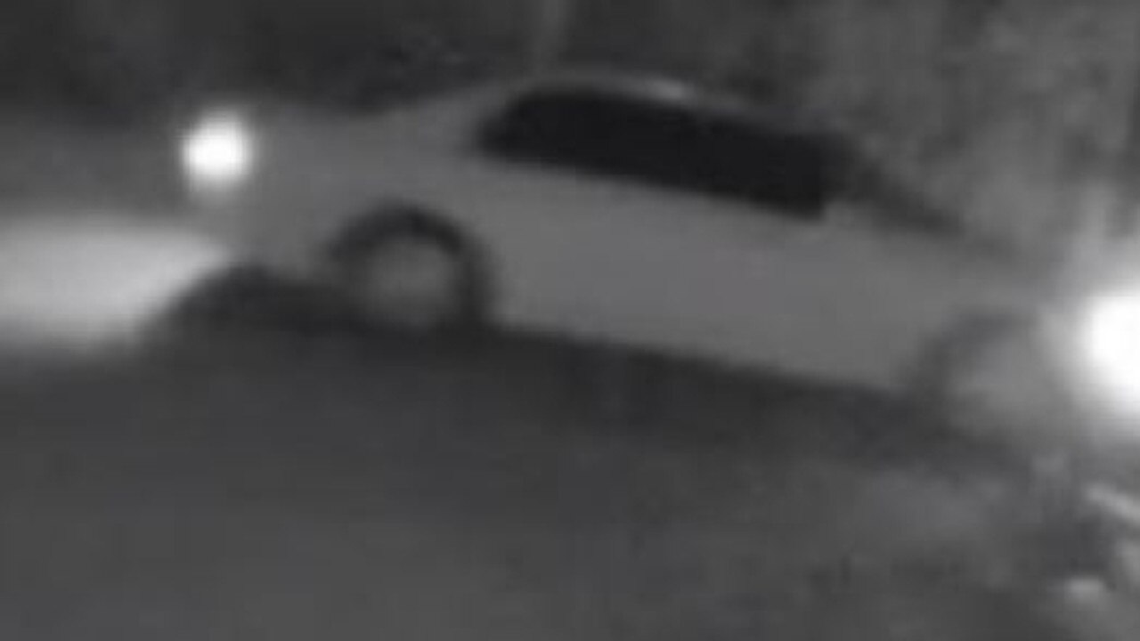 The white sedan police believe was used in the break and enter of a business at Racecourse on Monday.