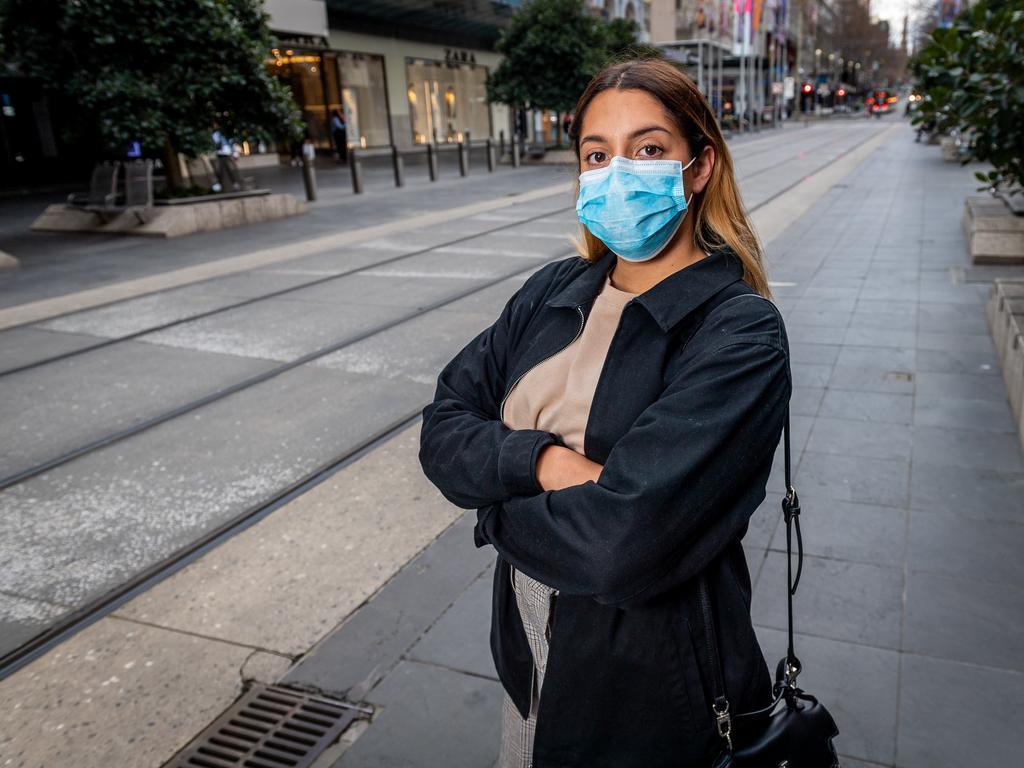 Valentina Leyva wears a mask in Melbourne. Picture: Jake Nowakowski