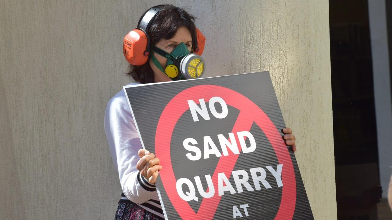 PROTEST: About 200 people gathered in Nambour to appeal to councillors to reject a sand mine proposal.