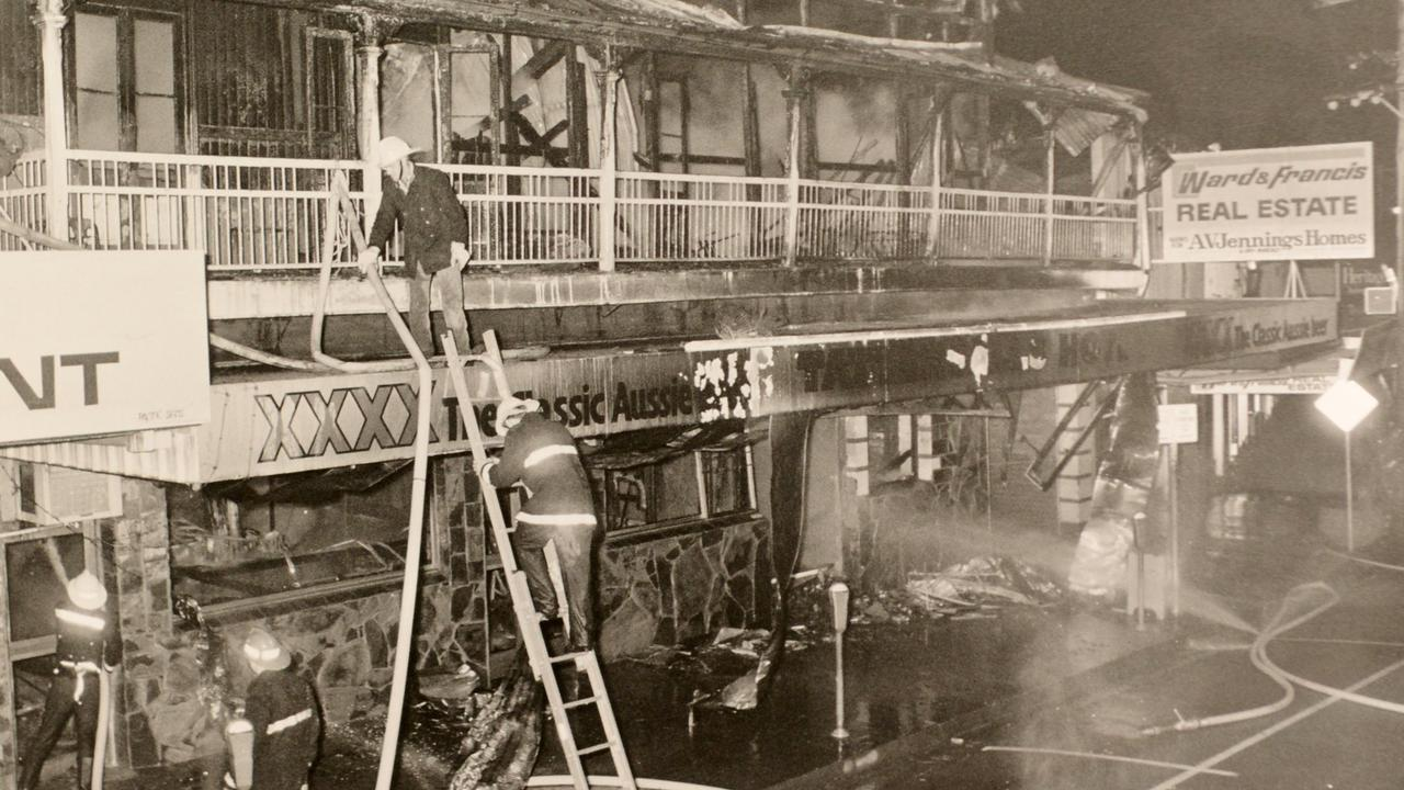 On Sunday August 6, 1989, fire destroyed the popular Tatts Hotel.