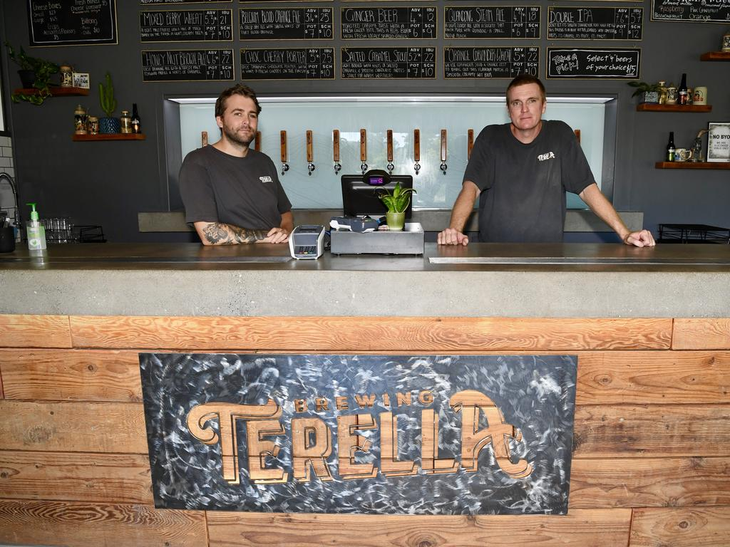 Torren Read and Brandt Bamford from Terella Brewing are remaining positive despite the downturn due to the virus.