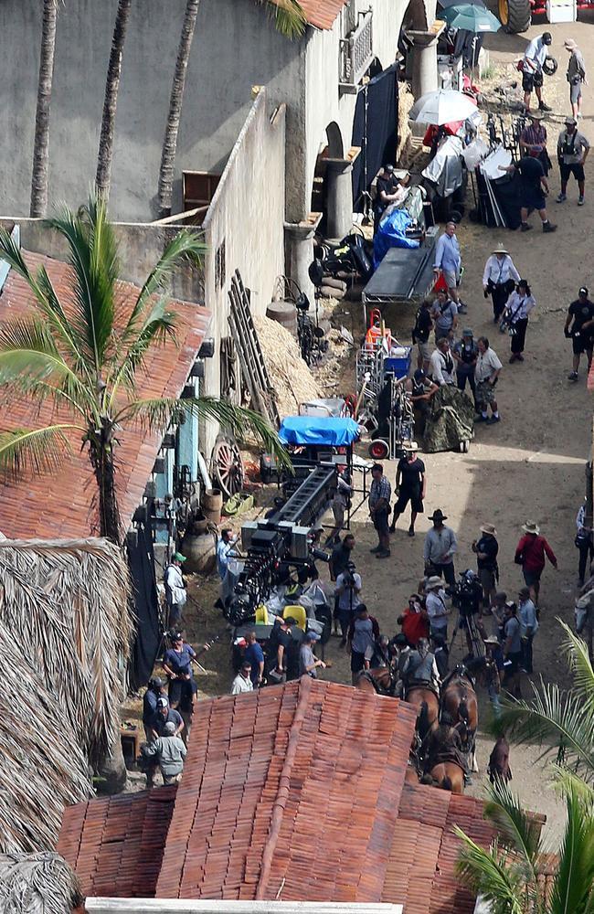 Actors and film crew on the set of Pirates of the Caribbean on the Gold Coast. Picture: Glenn Hampson.