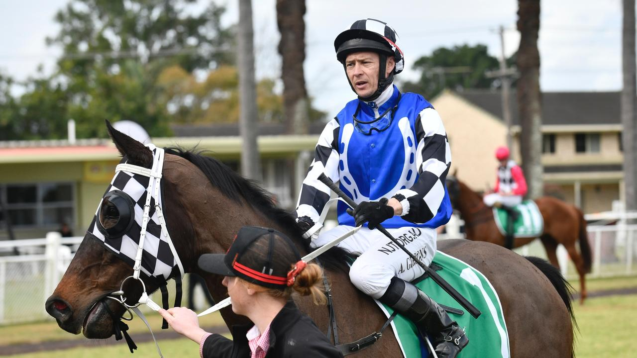 Veteran jockey Andrew Gibbons rides Cody Morgan-trained Yulong Base to scale after winning the GRAFTON CUP DAY RACE 5: CORBETT EARTHMOVING PTY LTD THE BIG MAIDEN SHOWCASE HANDICAP (1200 METRES)