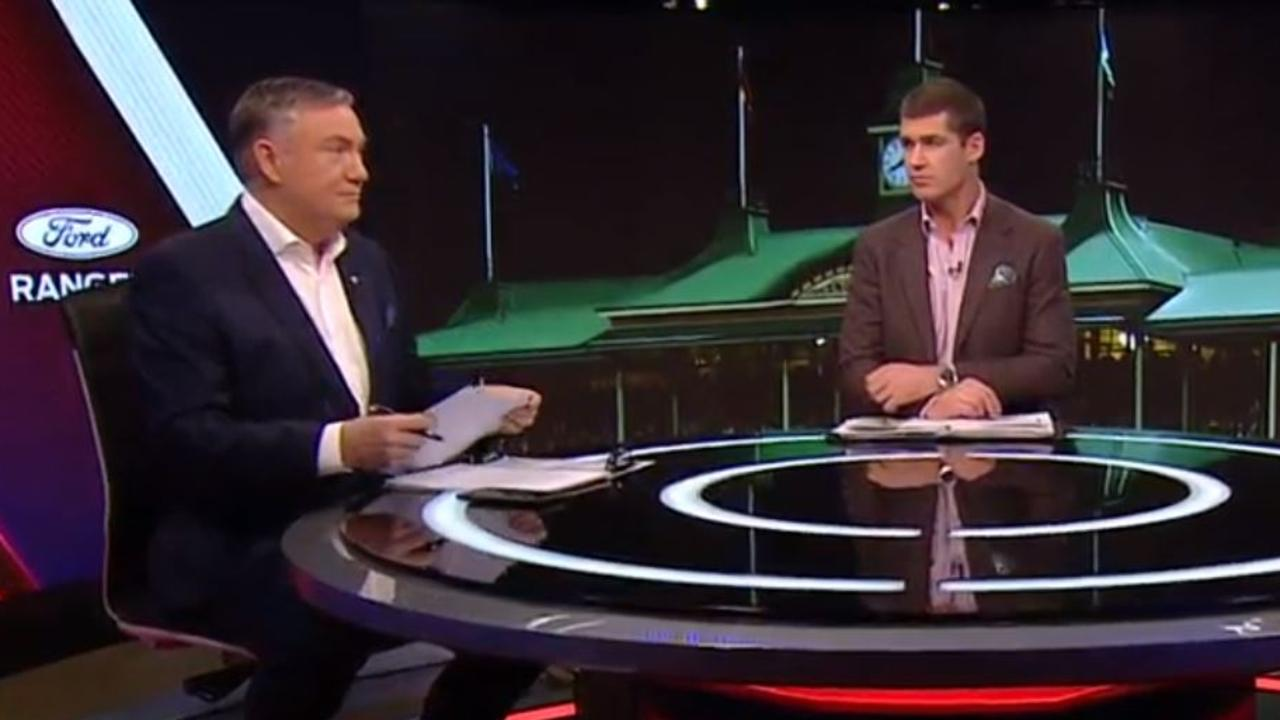 Eddie McGuire and footy legend Jonathan Brown have struggled through an incredibly awkward live TV incident filled with painful silence.