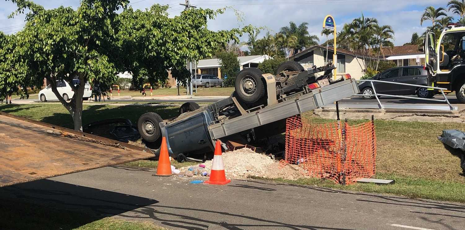 A vehicle flipped on Boat Harbour Drive on Friday.
