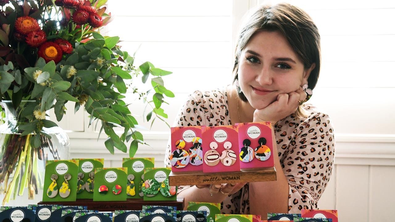 WATTLE WOMAN: Entrepreneur Lili Jacobsen with her range of earrings that she will be selling in select Bundaberg stores.