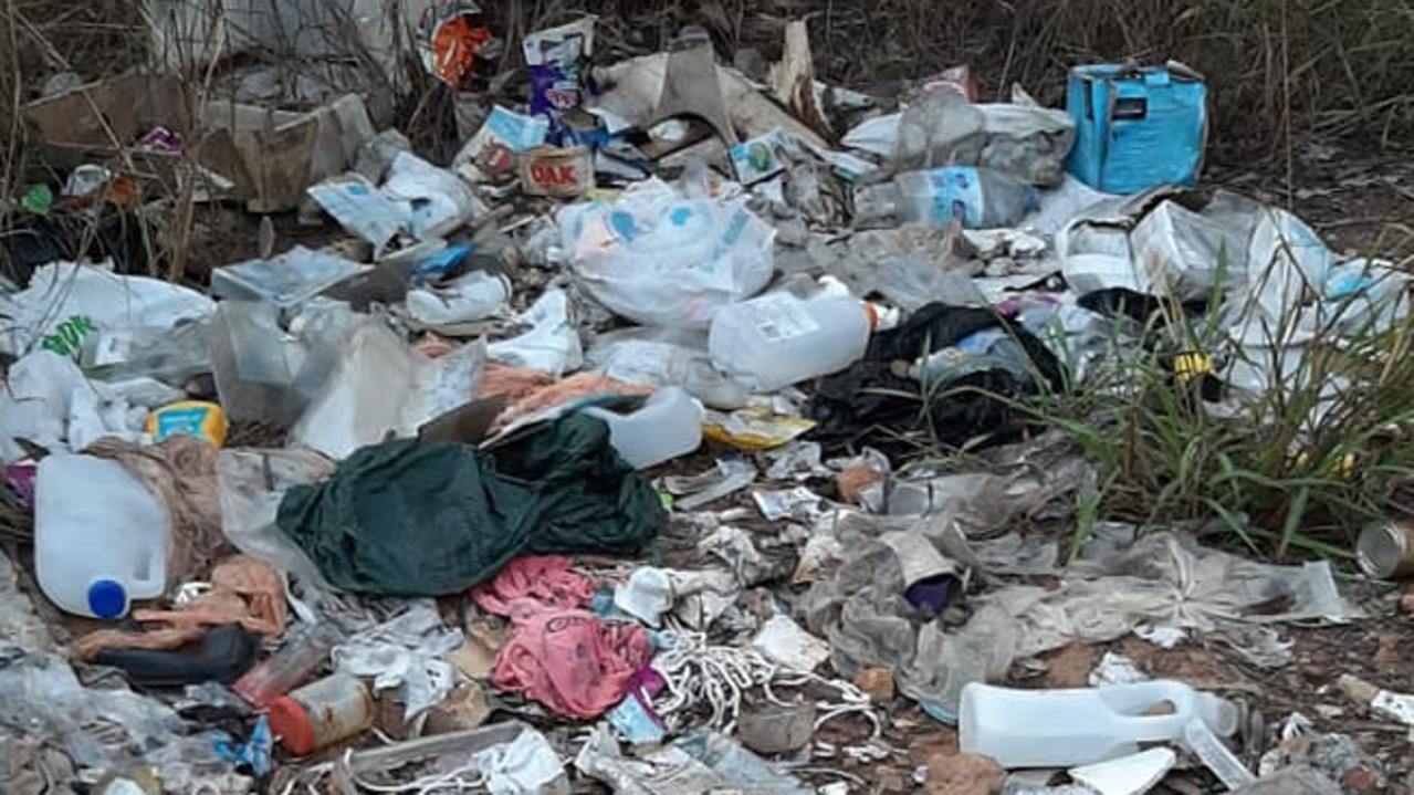 Rubbish dumped in bush land at Bundamba.