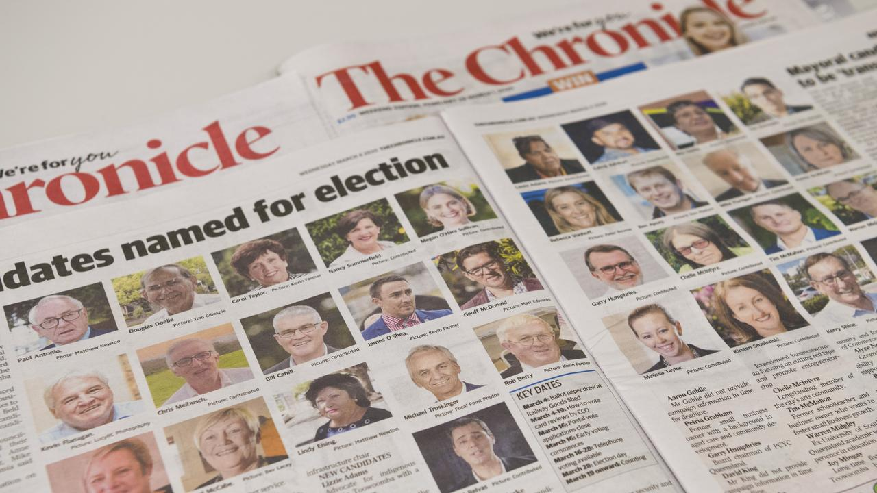 The Chronicle March 4 edition shows some of the 2020 TRC election candidates, Friday, March 20, 2020. Picture: Kevin Farmer
